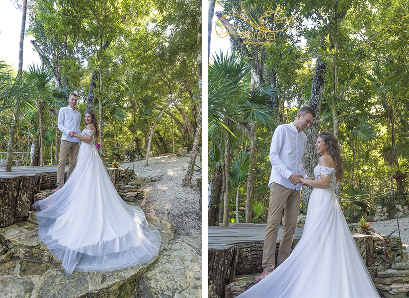 Honeymoon photoshoot in a cenote in Tulum Mexico, Cancun , Elena Fedorova photographer, #24183