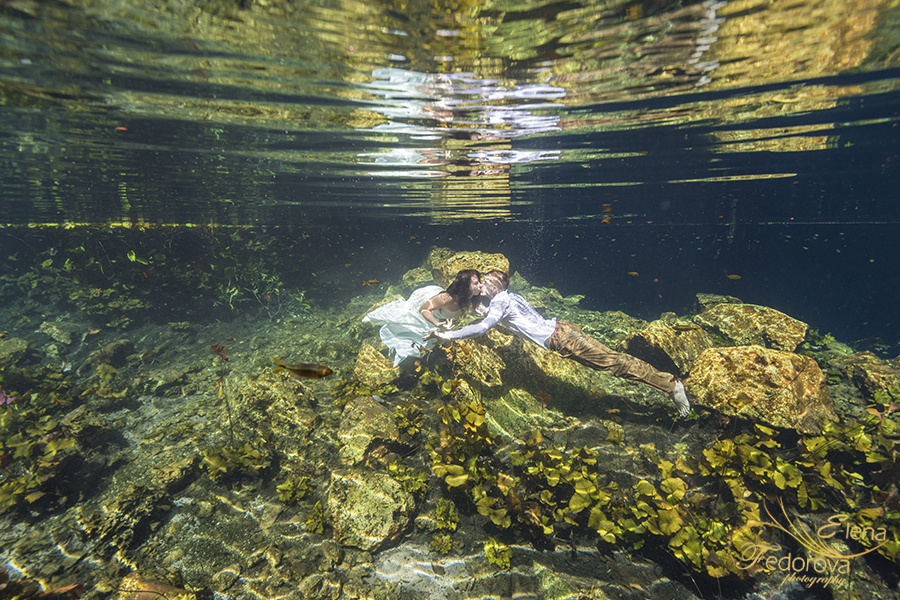 Honeymoon photoshoot in a cenote in Tulum Mexico, Cancun , Elena Fedorova photographer, #24193