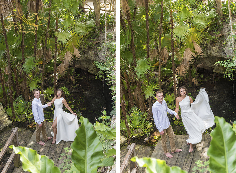 Honeymoon photoshoot in a cenote in Tulum Mexico, Cancun , Elena Fedorova photographer, #24184