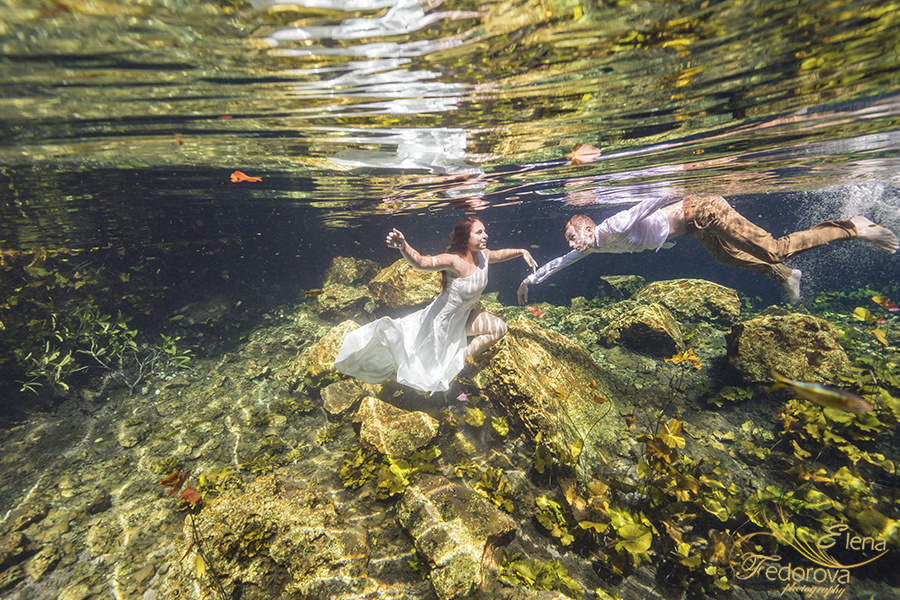 Honeymoon photoshoot in a cenote in Tulum Mexico, Cancun , Elena Fedorova photographer, #24180