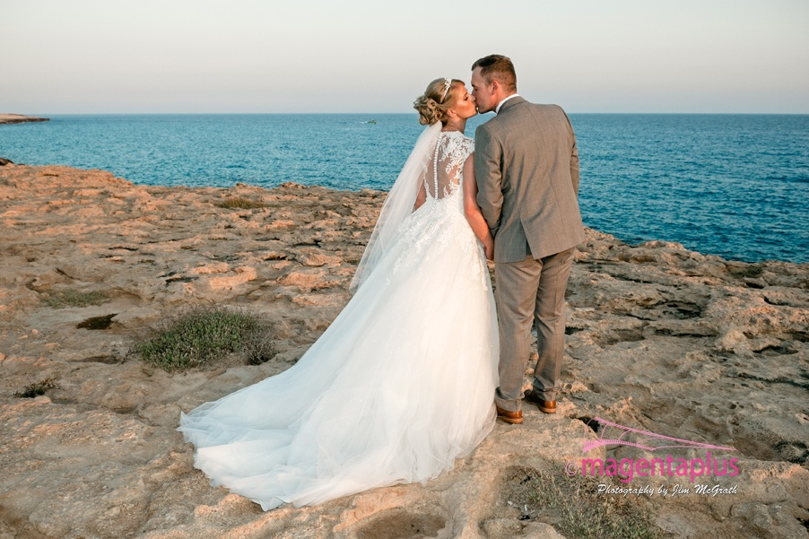Romantic photo of bride and groom in Cyprus