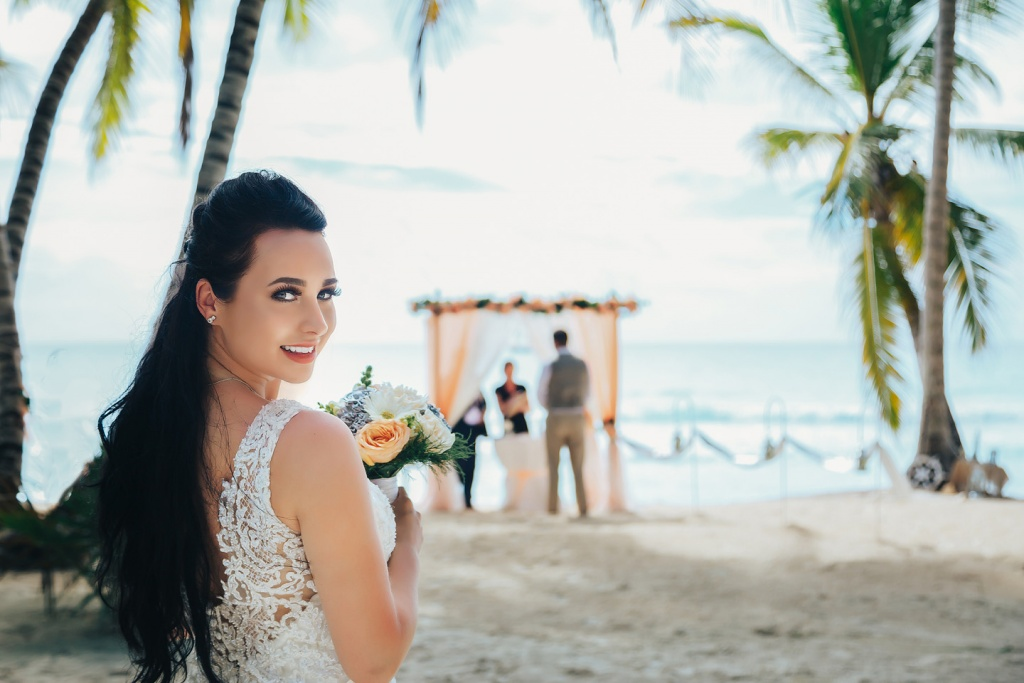 Wedding at tropical island Saona.