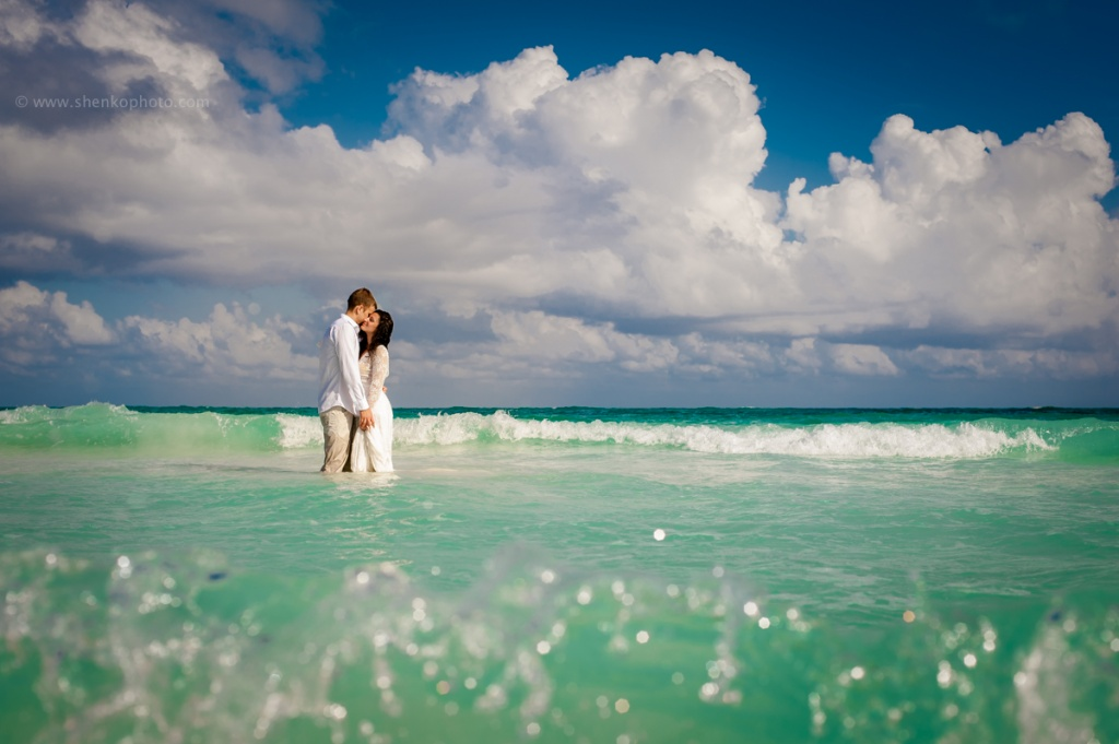 Trash the dress in the Caribbean sea