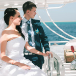 Wedding abroad in Egypt, on a yacht Red Sea, Hurghada, Giftun island.
